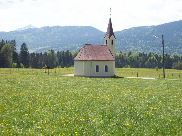 Free chapel foothills of the alps view bavaria landscape