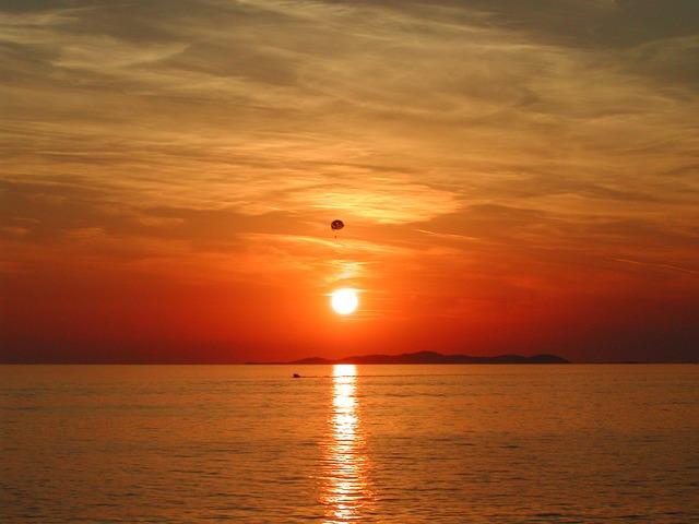Free adria sea water sunset