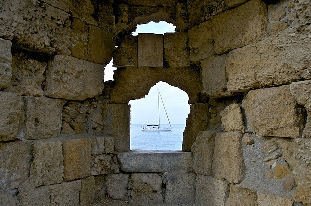 Free greece wall stone opening sea ocean water view
