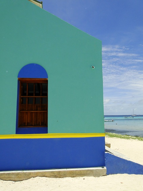 Free caribbean green blue window corner