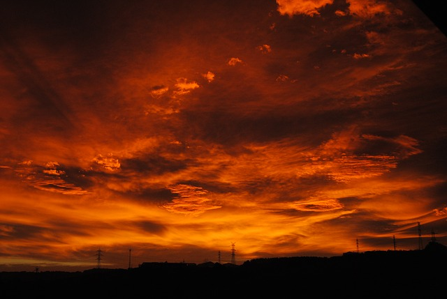 Free               sunset sky red heaven