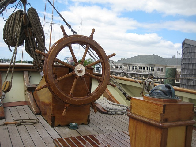 Free Photos: Boat ship wheel deck captain's area sky clouds   David Mark