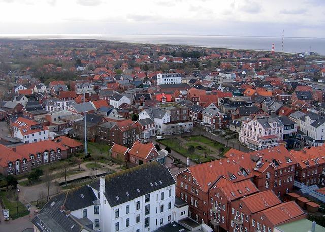 Free borkum sea island north sea aerial view