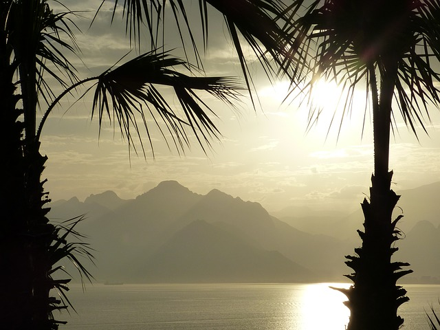 Free sea abendstimmung horizon mountains sunset clouds