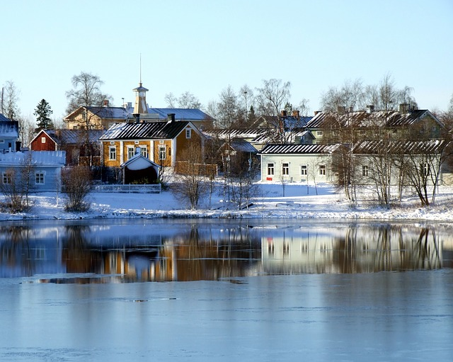 Free oulu finland river lake water buildings winter