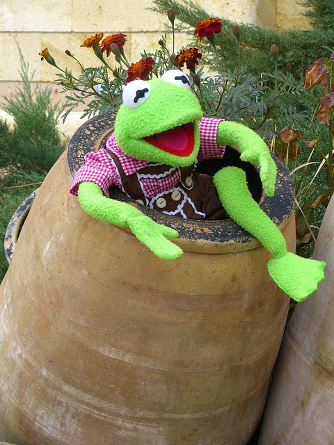 Free                kermit frog green barrel ton clay pot joy fun