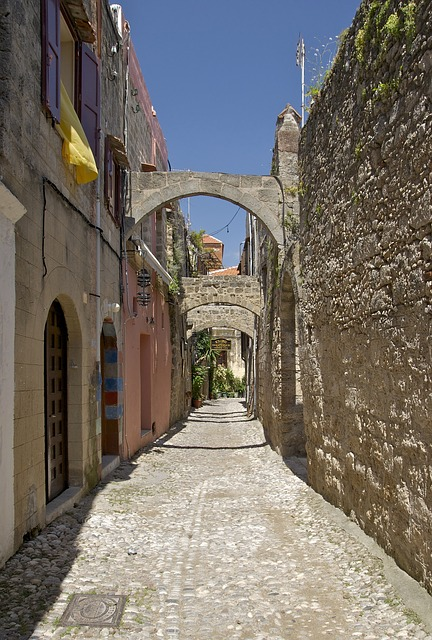 Free rhodes greece city buildings old stone arch