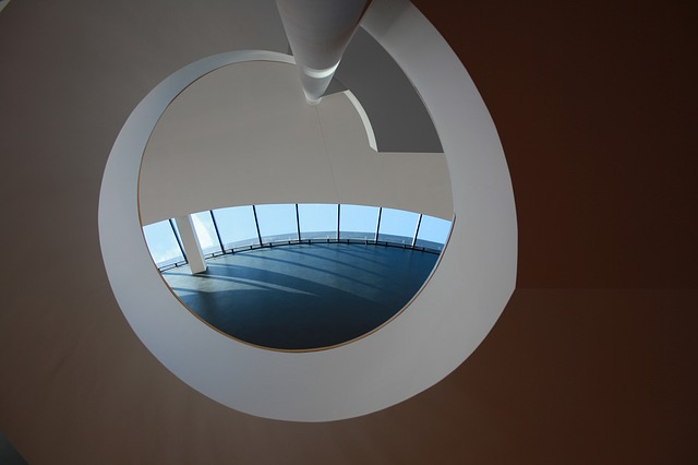 Free architecture objects impact spiral staircase