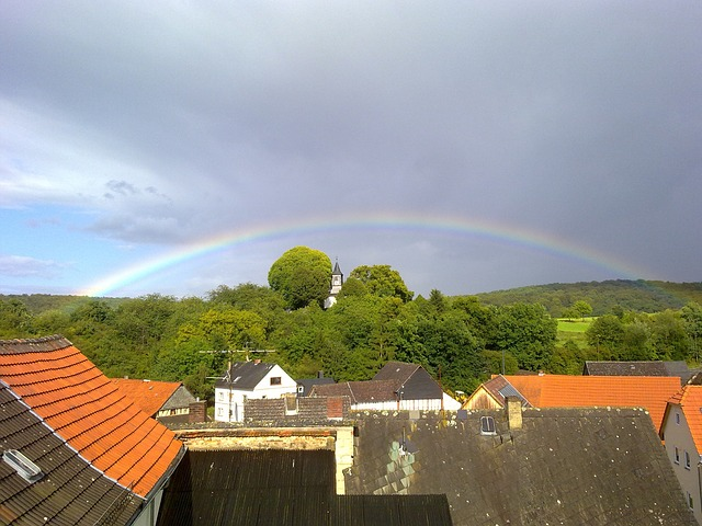 Free oberlauken germany town sky clouds rainbow