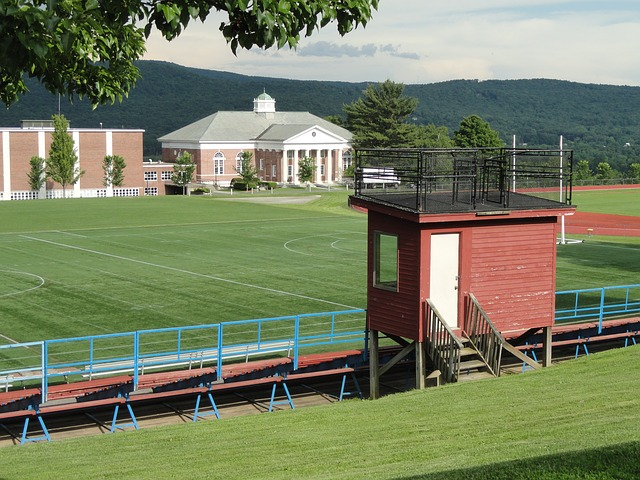 Free massachusetts school athletic field bleachers sky