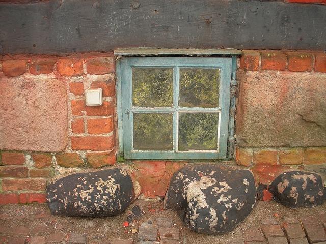 Free old merchant's house detail basement window blue