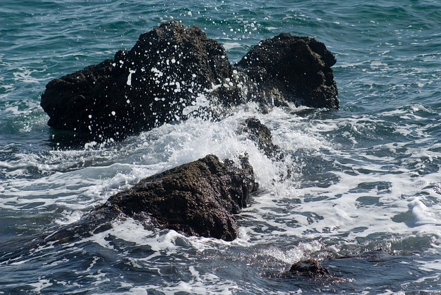 Free rock sea surf water coast steinig