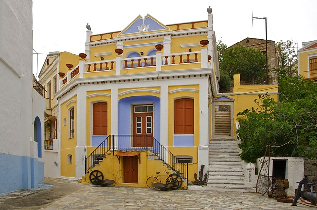 Free symi greece urban village town museum buildings