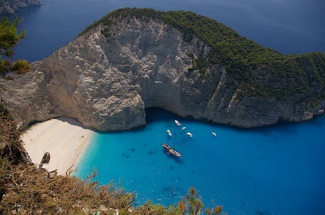 Free greece sea ocean water boats ships mountain
