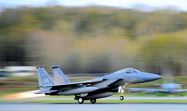 Free take-off f-15 eagle jet aircraft fighter air force