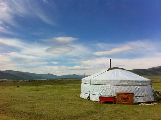 Free mongolia landscape sky clouds grass plants tent