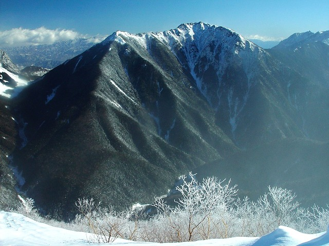 Free japan mountains winter snow ice trees sky clouds