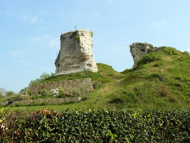 Free france landscape grass plants ruins stone sky