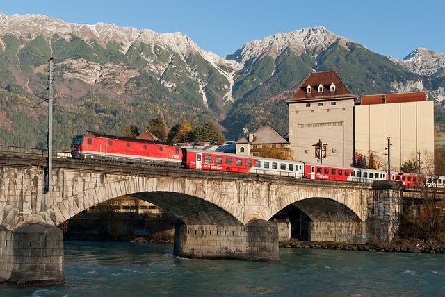 Free austria mountains river water bridge buildings