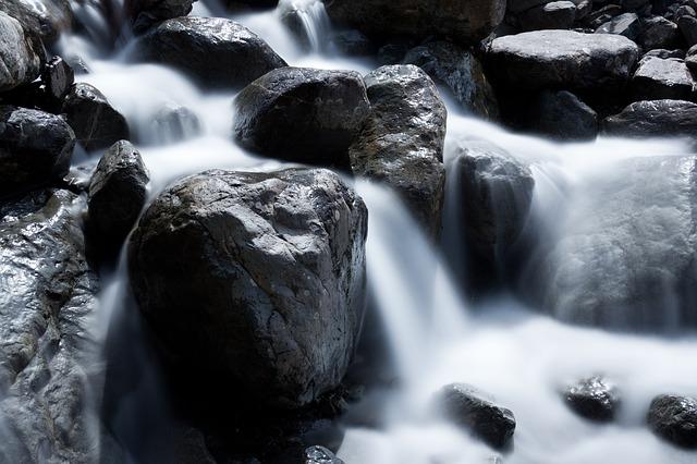 Free blur boulder cascade creek flow flowing fresh