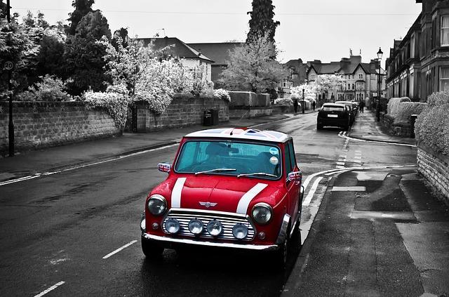 Free red car mini cooper symbol england flag city