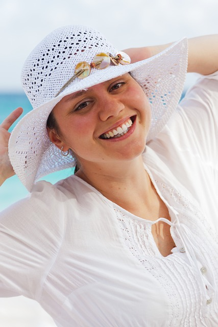 Free female sea woman hat beach ocean travel summer