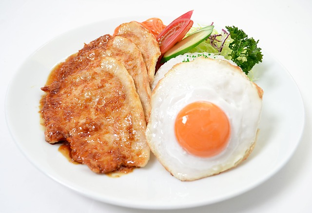 Free plate lunch pork ginger fried eggs dish food