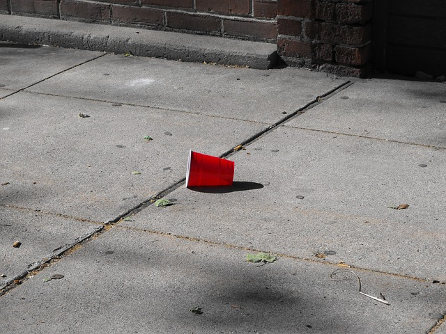Free red cup city sidewalk urban street