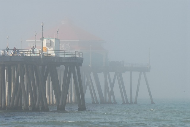 Free Photos: Pier misty morning huntington beach sea fog | PublicDomainPictures