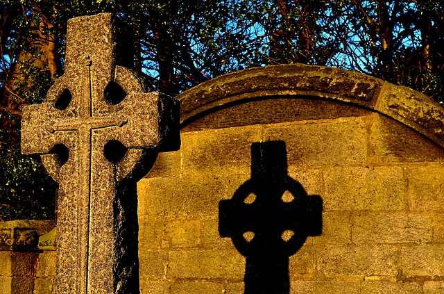 Free stone architecture symbol cross sunset shadow