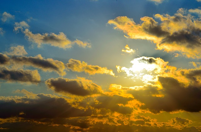 Free sun red night evening sky blue background card