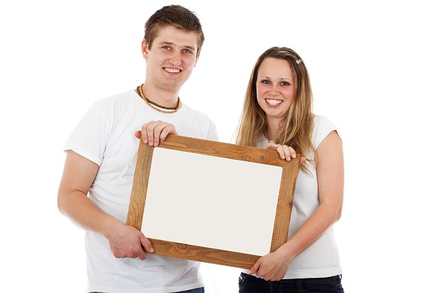 Free board blank border couple empty female frame