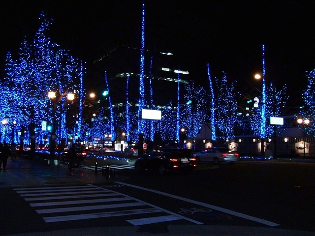 Free osaka japan night evening lights decorative blue