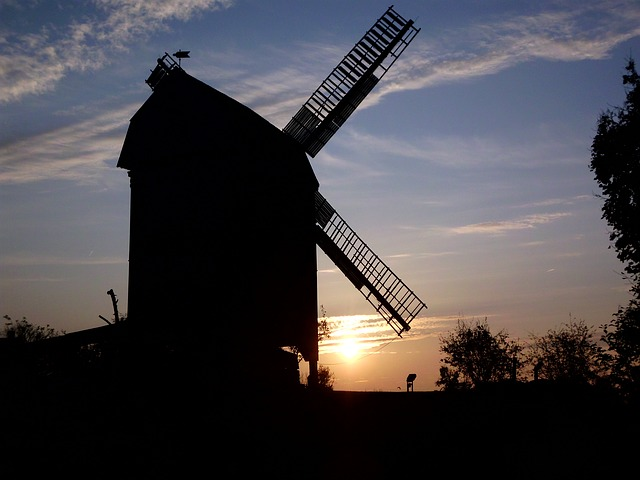 Free germany sunset windmill sky clouds silhouette