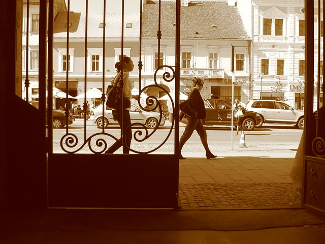 Free romania urban people walking view door doorway