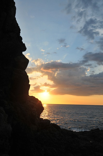 Free sun sky sunset nature rocks ocean sea water