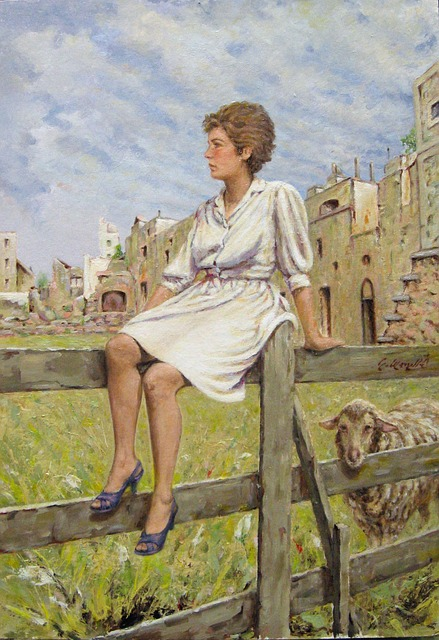 Free art painting artistic woman fence nature outside