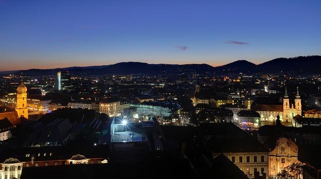 Free graz austria mountains night evening city cities