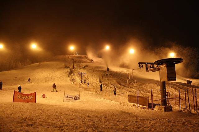 Free finland ski slope winter snow ice landscape night