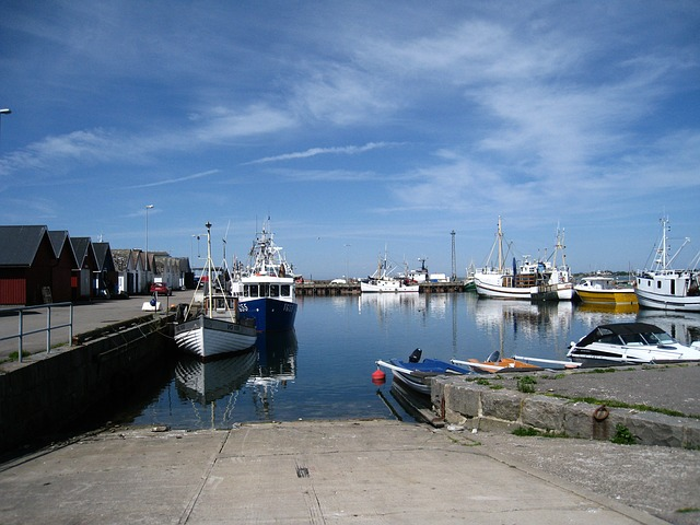 Free halland träslövsläge port boats buildings water