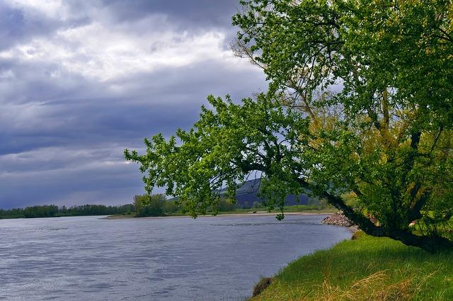 Free river landscape storm clouds sky grass tree