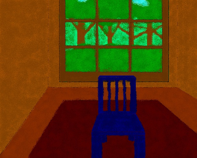 Free Photos: Blue chair empty room painting teddy window | PublicDomainPictures