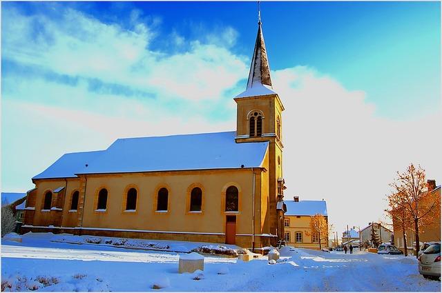 Free france winter snow ice trees street church sky