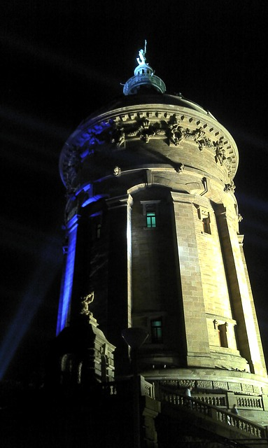 Free architecture water tower water tower at night