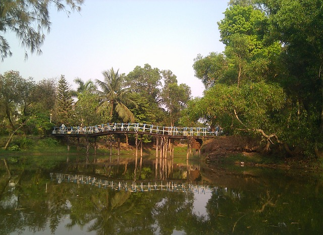 Free india sky clouds bridge wooden forest trees
