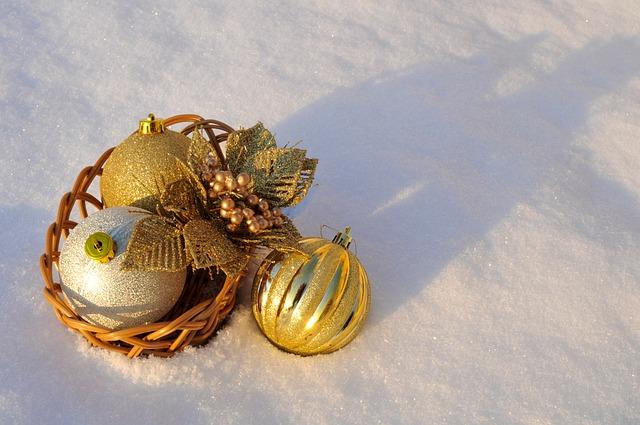 Free christmas holiday balls ornaments snow gold