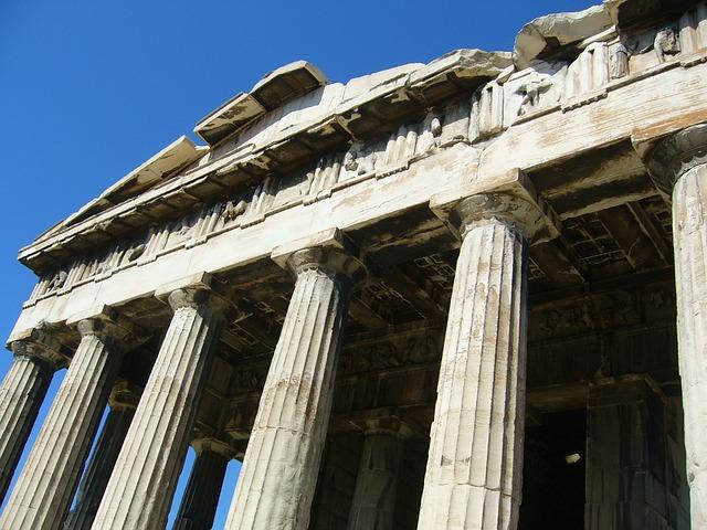 Free greece rom blue sky column