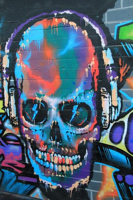 Free skull and crossbones graffiti wall forest painting