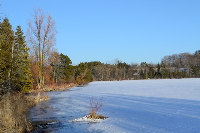 Free ontario canada lake winter snow ice frozen water