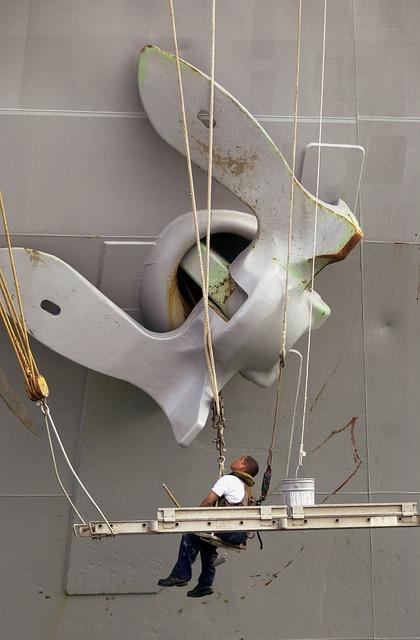 Free ship anchor man working maintenance large repair